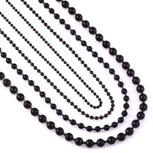 Width 1.5mm/2.0mm/3.2mm/4.5mm Black Stainless Steel Ball Chain For Charm Pendant Waterproof Match Rolo Chain Necklace Wholesale(China)