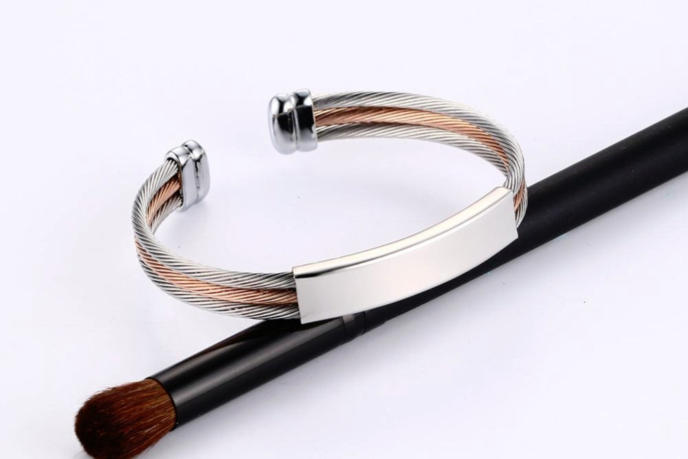 Free engraving Men Women Bracelets Stainless Steel Triple Color Cable Wire Twisted ID Tag  Open Cuff Bangle Bracelet Men Fashion Jewelry pulseira masculina SILVER 15