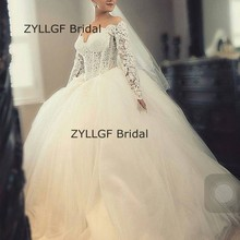 ZYLLGF Bridal Ball Gown Simple Long Sleeve Wedding Dresses Lace Tulle Robe De Marriage For Bride Custom Made TN221