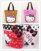 38*35CM Kawaii Canvas Hello Kitty Handbag ; Reusable Shopping BAG ; Women Satchel Storage Shoulder Pouch Holder