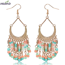 Brinco Direct Selling Rushed Women Trendy Pearl Zinc Alloy Heart Earing Earrings For Women 2016 Newest Design Long Drop Earrings(China)