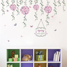 Spring The Colorful World Flowers TV Background Wall Decoration Removable Wall Stickers(China)