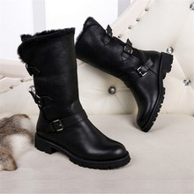 Buckles Soft Leather Women Boots Round Toe Flats 2017 Dress Shoes Woman Black Motorcycle Boots Zapatos Mujer Warm Fur Booties