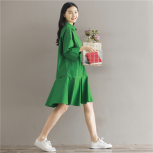 New Autumn Women dress Solid Lotus Leaf Is Placed Cotton And Linen Dresses Green 8065