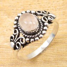 Ring Size US 8 !  Silver Plated Classic Rose Quartzs FACTORY DIRECT Jewelry