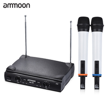 ammoon Dual Channel VHF Wireless Handheld Microphone System 2 Mics 1 Receiver 1 Audio Cable for Karaoke Family Party Performance(China)