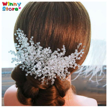 2017 New Hot White Crystal Hair Comb Vine Hair Jewelry For Women Bridal Hair Clips Silver Comb Wedding Hair Accessories Mom Gift(China)