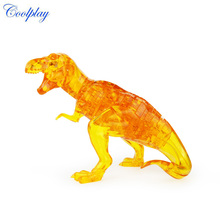Coolplay 3D Puzzles DIY Dinosaur Crystal Puzzles Educational Toys For Children Gray yellow 50pcs Plastic Dinosaur Assembled Toys