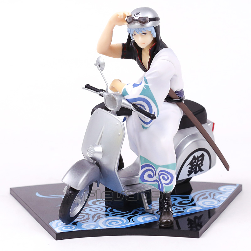 Silver Soul Gintama Sakata Gintoki &amp; Scooter PVC Figure Collectible Model Toy 15.5cm<br>