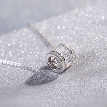 Flyleaf 925 Sterling Silver Cylinder Necklaces & Pendants For Women Fashion Lady Cubic Zirconia Diamonds Sterling-silver-jewelry(China)