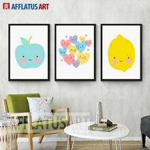 AFFLATUS Modern Wall Art Posters And Prints Cute Fruit Apple Lemon Canvas Painting Wall Pictures For Kids Room Decor No Frame(China)