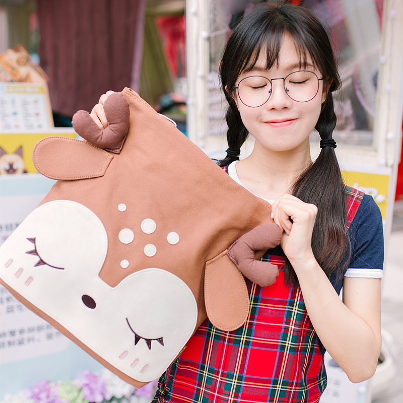 Cute Deer Lovely Canvas Shoulder Bag Soft Sister Deer Ears Fresh Mori Girl School Bag For Teenage Sleeping Eyes Book Bag<br>
