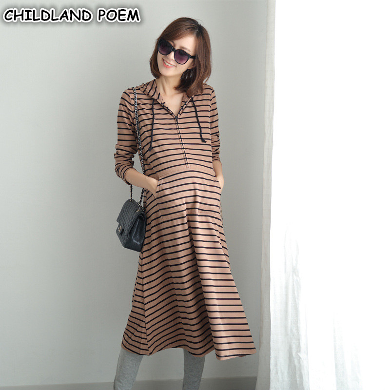 Maternity Dress Spring Pregnancy Clothes Breastfeeding Nursing Pregnant Dress Maxi Maternity Dresses Cotton Long Sleeve Stripe <br>