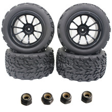 4pcs/Lot Rubber RC Truck Tyre & Wheel Rim For EP 1/10 Scale Electric Power Off Road Redcat Volcano EPX 4WD Model(China)