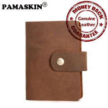 PAMASKIN New 16 PVC Banks Card Slots European And American High Quality Cowhide Leather Hasp Men Credit Card Case 2017 Hot Sale(China)