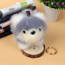 2017 New mink fur Keychain dog husky key chains plush toy real mink furs handmade pendant  Trinket Charm Bag Car Key ring