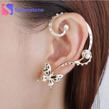 2017 New Fashion Women's Personalized Stud Earrings Two Different Types Crystal Golden Butterfly Earring Women Jewery Accessory