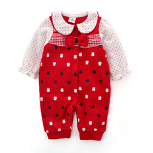 New arrival spring baby coveralls cotton formal dress romper long sleeves infant clothes newborn baby girl clothing