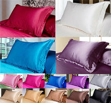 1 Pair/2pcs 2016 Satin Silk Solid pillowslips pillow cases pillow covers bedding comfortable cheap/good quality,48*74 cm