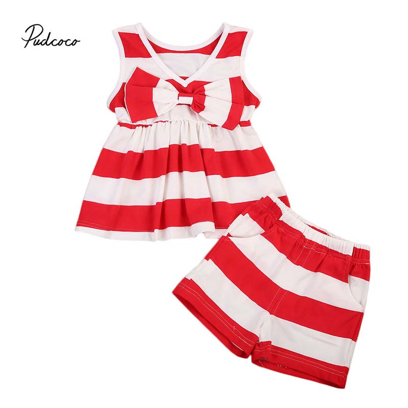 Pudcoco 2018 Toddler Baby Girl Clothes Set Striped Bowknot Sleeveless Dress Shirt Tops+Shorts Summer 2PCS Outfit Clothes 0-5Y