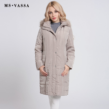 MS VASSA Ladies Parkas Winter 2017 New long Jackets Women Autumn classic coats detachable hood with fake fake plus size 6XL(China)