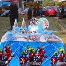 131pcs Cartoon Paper Tablecloth Cup Plate Candy Box Avengers Party Supplies Kids Birthday Baby Shower Decoration Tableware Favor