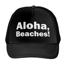 Aloha Beaches Letters Print Baseball Cap Trucker Hat For Women Men Unisex Mesh Adjustable Size Black White Drop Ship M-35
