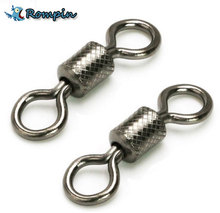 Rompin 50pcs/lot fishing swivels Ball Bearing swivel with safety snap solid rings rolling swivel for carp fishing accessories(China)