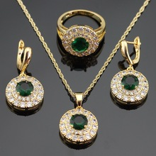 Magnificen Round Green Imitated Emerald  Gold Color Jewelry Sets For Women Necklace Pendant Rings Drop Earrings Free Gift Box