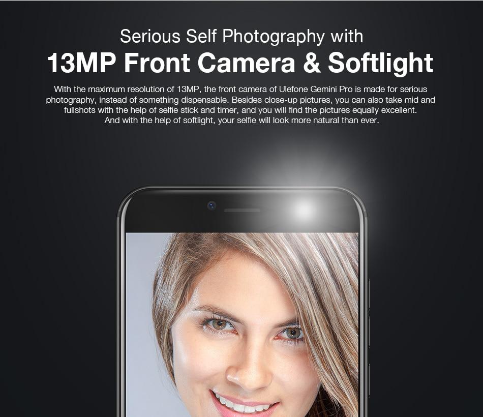 Original Ulefone Gemini Pro 4G Smartphone 5.5 inch FHD MTK6797 Deca Core Android 7.1 4GB+64GB Fingerprint ID Dual Camera 13MP