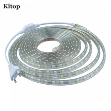 Kitop 220V LED strip light with EU Plug SMD 5050 60 leds/M IP67 Waterproof outdoor flexible Tape Warm White Kitchen 1M 2M 5M 10M