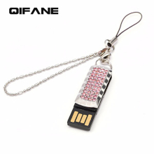 QIFANE 64G Lanyard U Disk 32GB Metal Creative pen drive 4G 8G 16G crystal Jewellery USB Flash Drive luxury Creative memory stick(China)