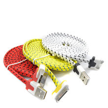 1M2M3M Mobile Phone Cables Braided Flat 30 pin USB Data Sync Charging Charger Cable Cord For iPhone 4 4S 3G iPad 2 3 iPod Nano