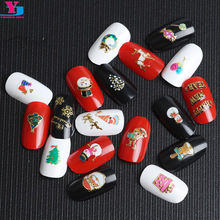 New 2pcs 3D Design Christmas Nail Sticker Stamp Charms Beauty Cartoon Nail Art Decorations DIY Polish Unhas Supplies Girls Dress