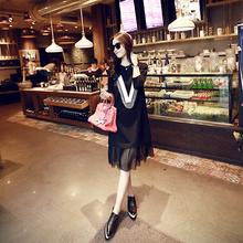 2016 New Spring Women dress Letter Mesh Classic Hem Tassel V Dresses Black 0006(China)
