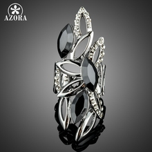 AZORA Novelty Big Size Hollow Design with Marquise Black Stellux Austrian Crystals Finger Rings TR0184(China)