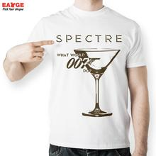 [EATGE] Creative Movie 007 Specture James Bond Wine Cup T Shirt Men Brand Printed T-shirt White Short Sleeve O-neck Tshirt