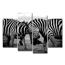 Zebras Fighting Canvas Art Print Poster Animal 4 Panels Modern Cheap Christmas Gift Decorative Pictures For Home Wall Art Decor