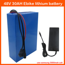 Hot Sale 1000W 48V 30AH lithium ion Ebike battery 48V Electric Bike Battery ( for Samsung cell 3000mah ) with 2A Charger 30A BMS(China)