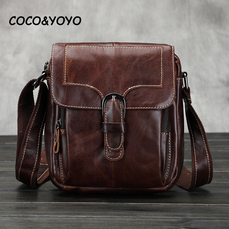 2017 New Arrival Fashion 100% Genuine Leather Men Messenger Bags High Quality Casual Small Shoulder Bags Vintage Coffee Bolso<br><br>Aliexpress