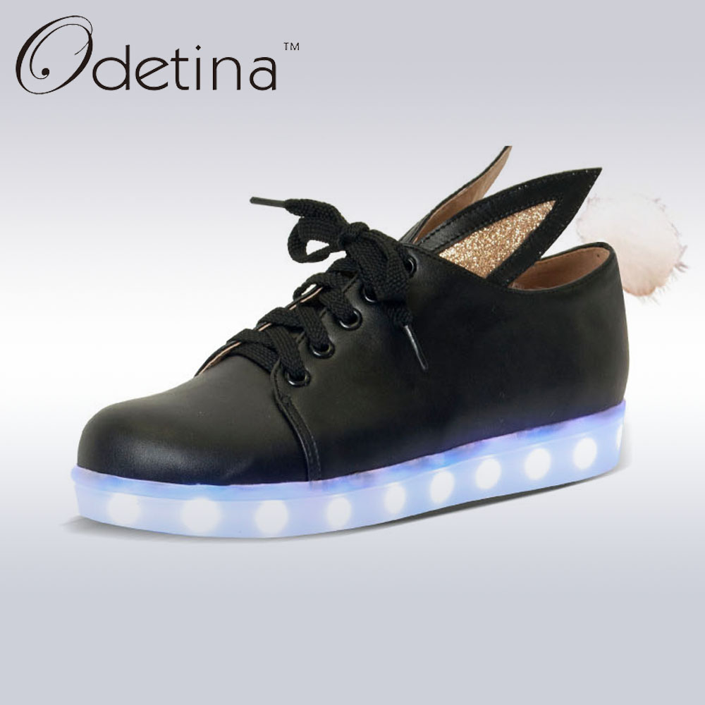 Odetina 2017 New Women Led Light Shoes For Adults Casual Flat Chaussure femme Luminous Shoes Lace Up zapatillas deportivas mujer<br>