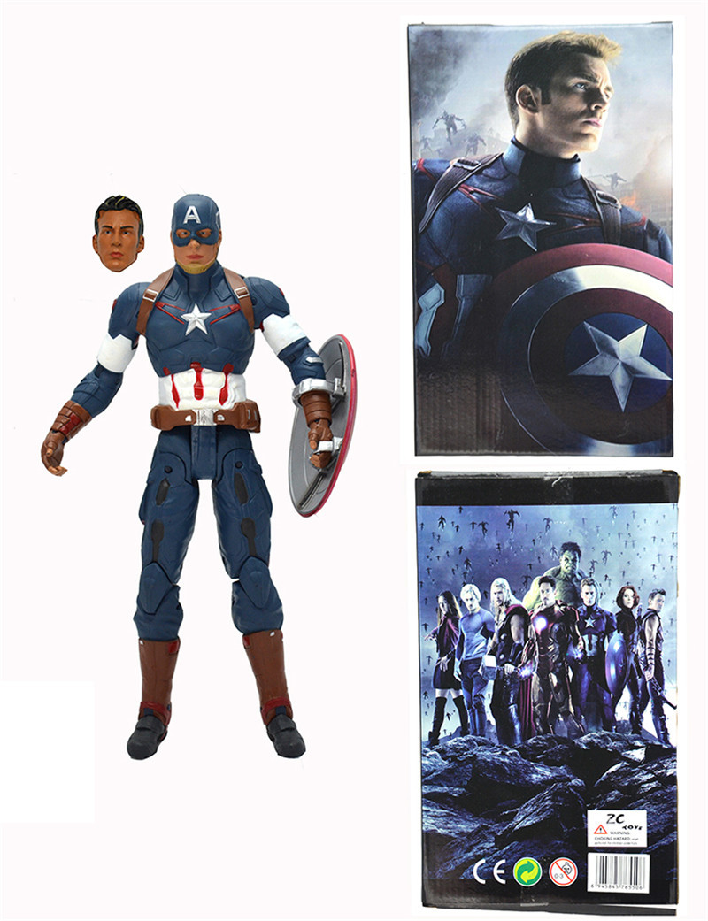 21cm Marvel Anime The Avengers Action Figures Captain America Garage Kits Joints Can Be Moved With Beautiful gift Box For Fans<br>
