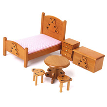 New 1:12 Dollhouse Miniature Furniture Wooden Dolls Bedroom Set 1/12 Doll House Miniature Pretend Play Classic Toy Kid Girl Gift
