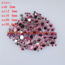 "DIY,100-1000pcs/bag,SS6/12/16/20/30,3D Nail Art Tips,Dark pink resin flatback crystal rhinestone""not hotfix""nails for phone case"