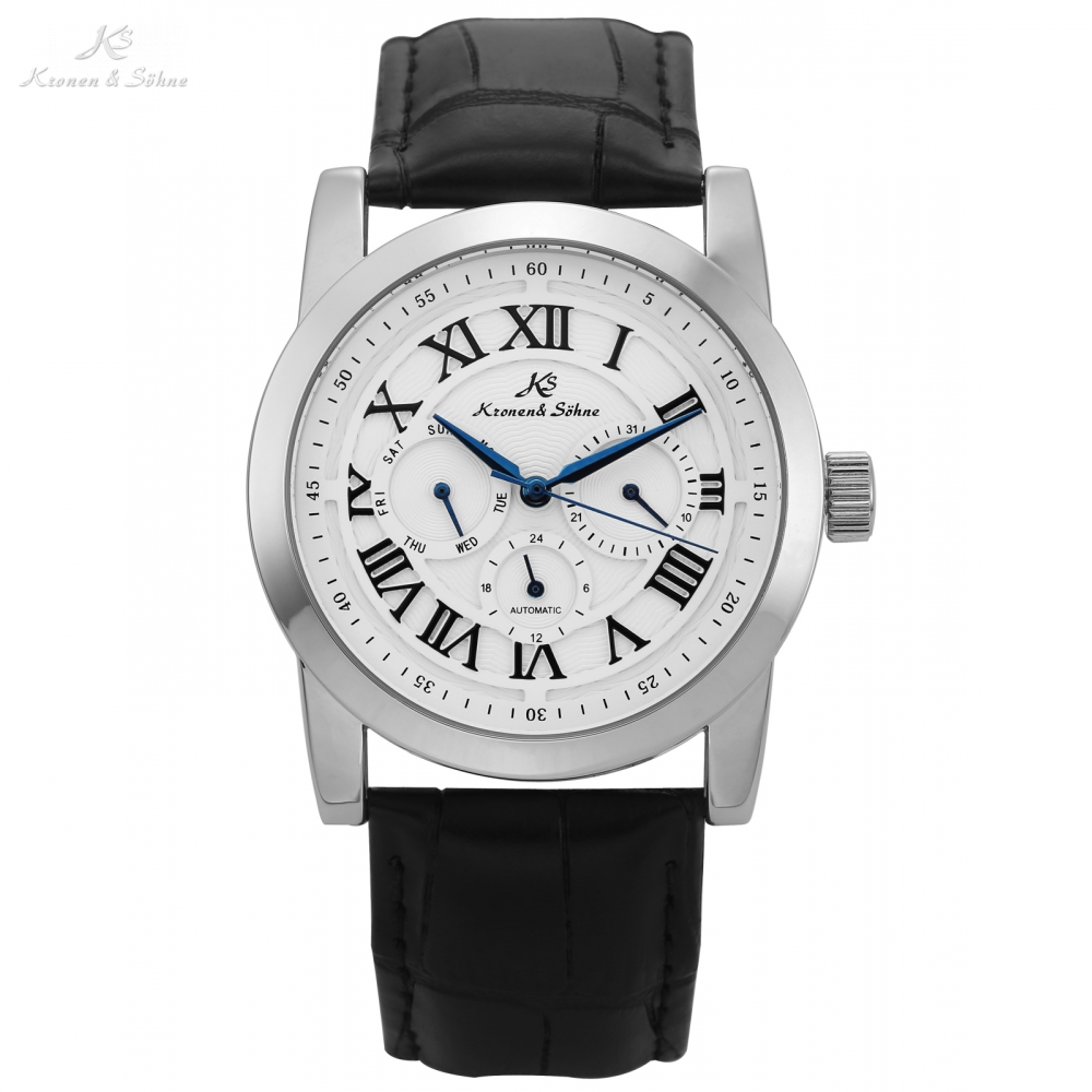 Ks Imperial Roman Analog Men Day Date Display Male Clock Relojes Hombre Automatic Mechanical Relogio Leather Wrist Watch /KS322<br>