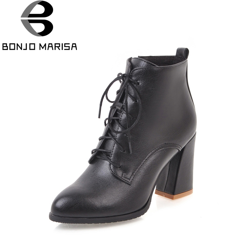 BONJOMARISA 2018 Spring And Autumn Solid Round Toe Lace-Up Ankle Boots Super High Hoof Heels Women Shoes Plus Size 34-45<br>