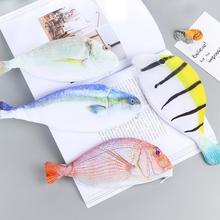 Fresh Sea Fish Canvas Large Capacity Pencil Bag Stationery Storage Organizer Case School Supply(China)