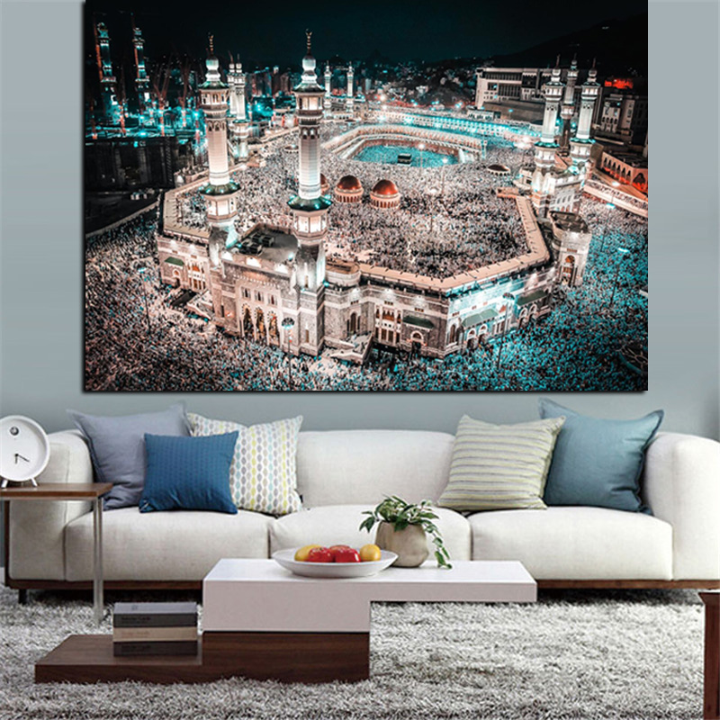 Modern Print Islam Pilgrimage to Mecca Sacred Mosque Night Landscape on Canvas Wall Painting for Living Room Sofa Cuadros Decor (2)