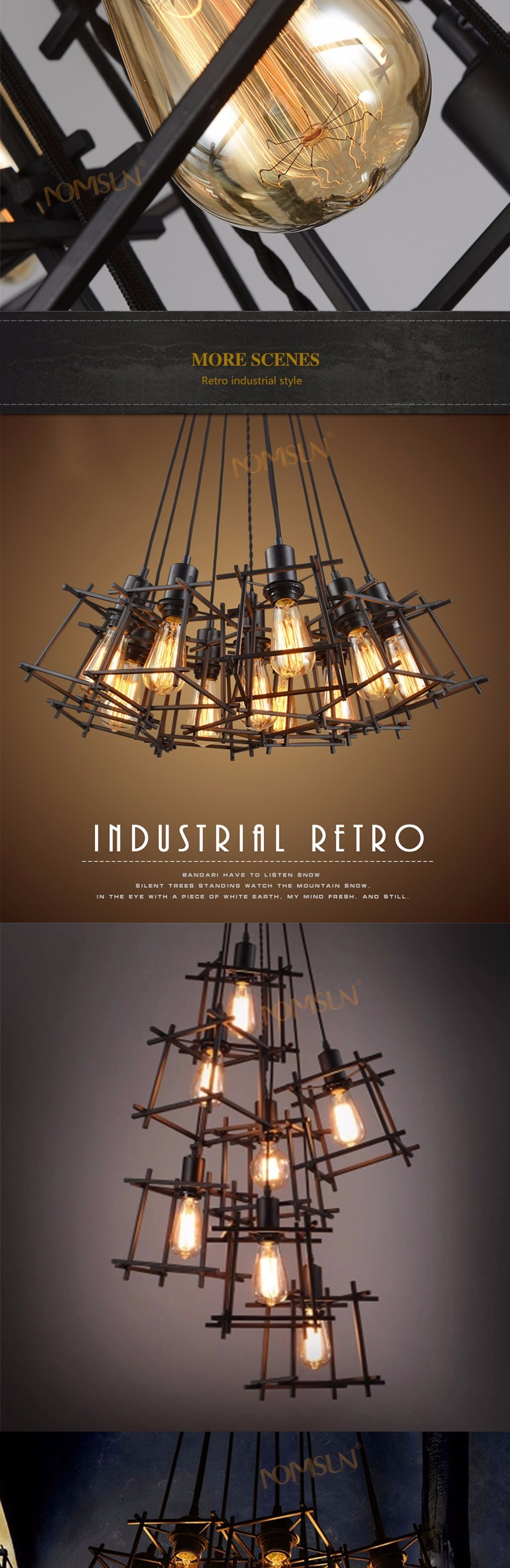 American Loft Vintage pendant light Personality Wrought Iron lights Edison nordic lamp industrial cage lamp lighting fixtures 7