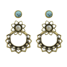 Ethnic Boho Earrings Ear Jacket Antique Gold Color with Rhinestone and Blue Stone Flower Stud Earrings For Women(China)